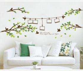tree trees leaf bird photo frame home Art Stickers decals TV set Decal Wall Sticker Vinyl Wall Decor living room bed room A419